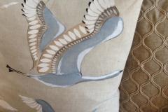 Linen bird cushion