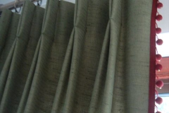 red bobble curtains